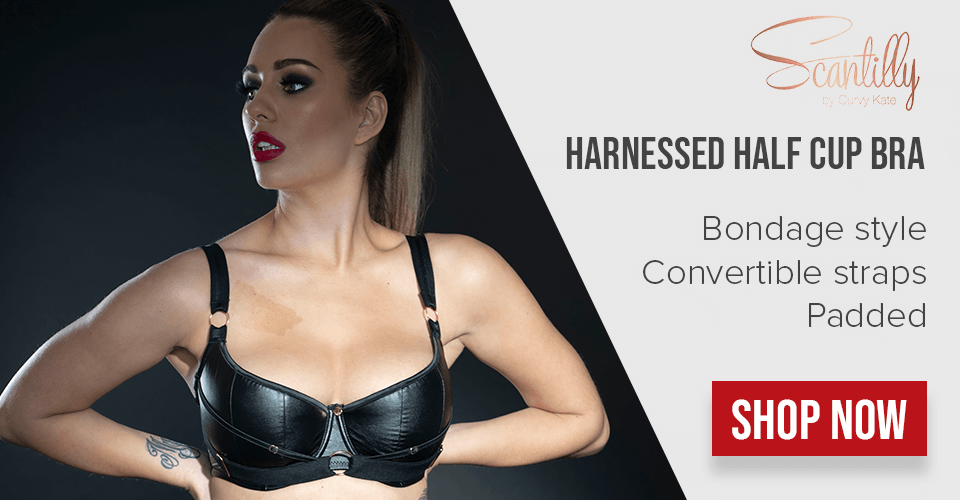 scantilly half cup harnessed bra