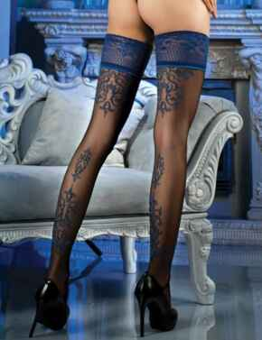 473 Ballerina Lace Top Hold Ups - 473 Black