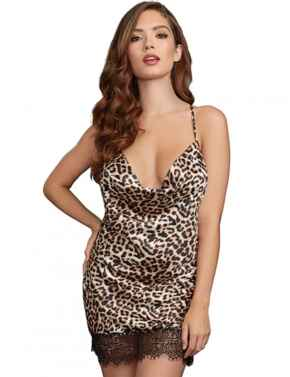 11794 Dreamgirl Silky Satin Chemise with T-Back Strap - 11794 Animal Print