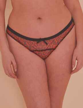 PPCCB3145 Playful Promises Josie Mesh Picot Cheeky Brazilian Brief Curve - PPCCB3145 Leopard