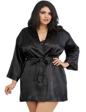 3717X Dreamgirl Plus Size Charmeuse Babydoll & Robe Set - 3717X Black