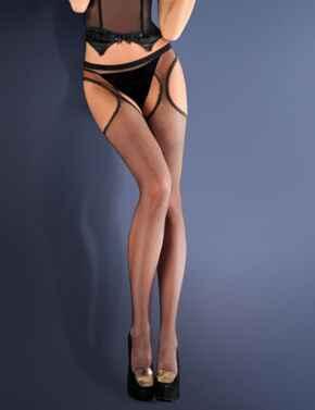 151-636 Gabriella Calze Erotica Strip Panty Tights - 151-636 Nero (Black)