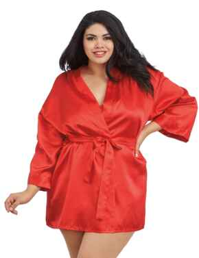 Dreamgirl Plus Size Charmeuse Babydoll & Robe Set in Red