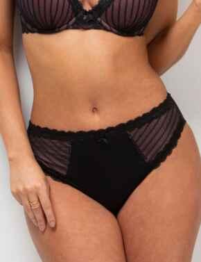 Pour Moi Luxe Linear High Leg Brief in Black/Blush
