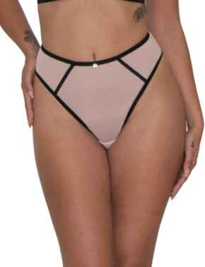 Scantilly by Curvy Kate Exposed Thong in Pink/Black