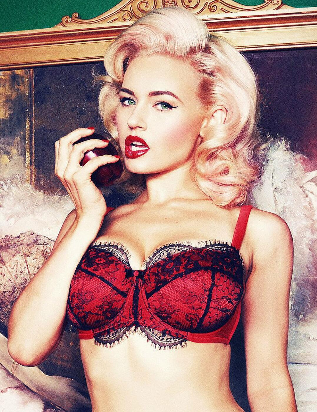 PPFB103 Playful Promises Cordelia Lace Overlay Balcony Bra - PPFB103 Red