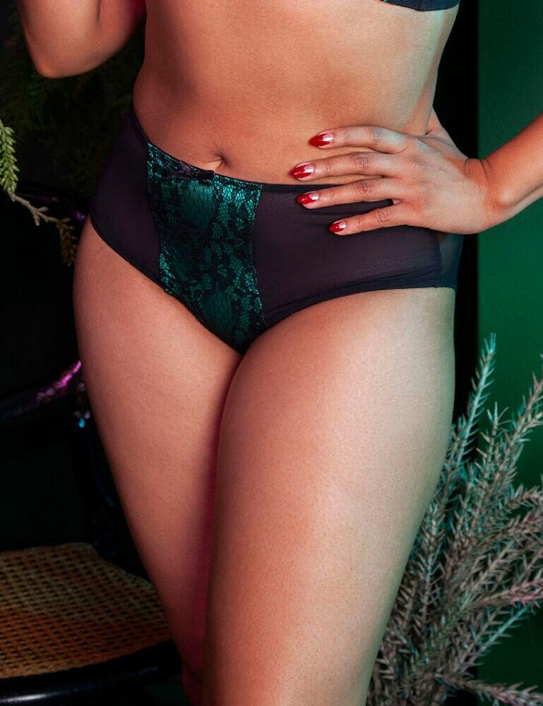 BPHW077 Playful Promises Bettie Page Elsie Lace High Waist Brief - BPHW077 Emerald Green