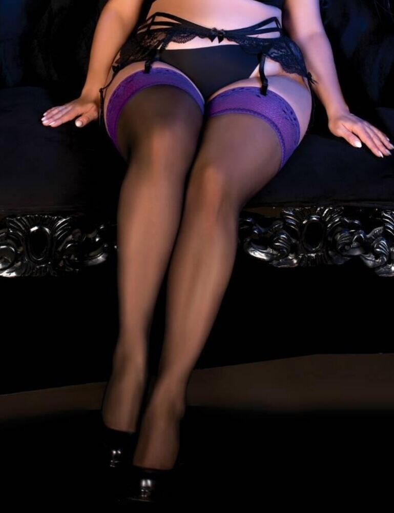 490 Ballerina Secret Exclusive Plus Size Hold Up Stockings - 490 Black