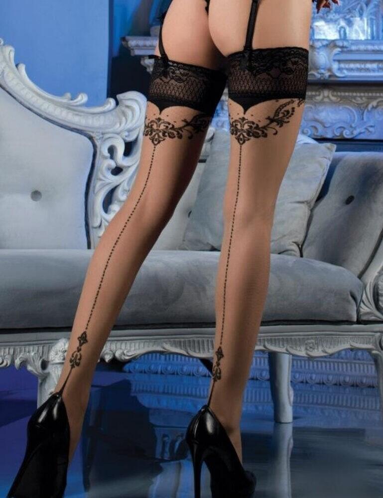 477 Ballerina Hold Ups - 477 Black/Skin