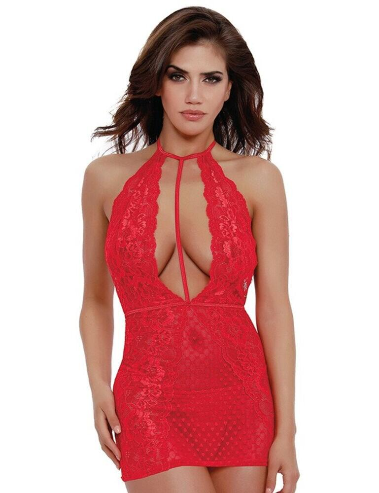 11787 Dreamgirl One Size Heart Mesh Chemise Set - 11787 Red
