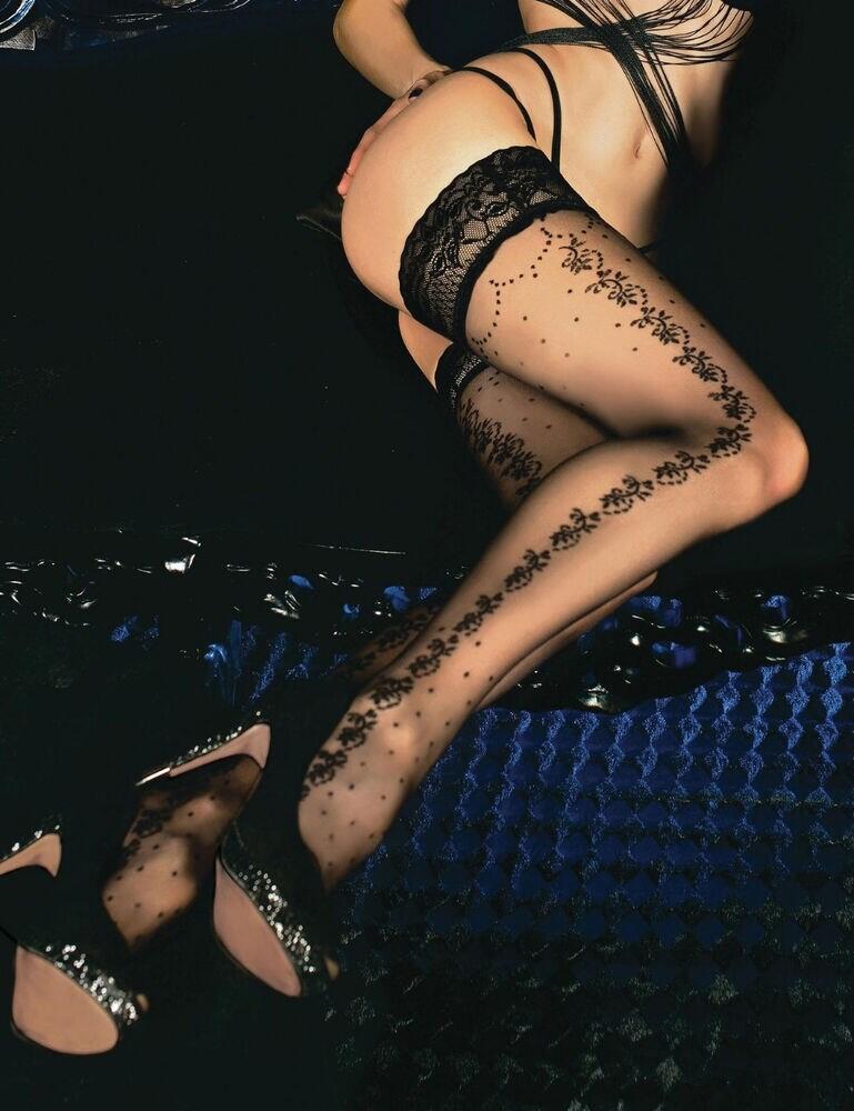 452 Ballerina Lace Trim 20 Denier Hold Ups - 452 Black