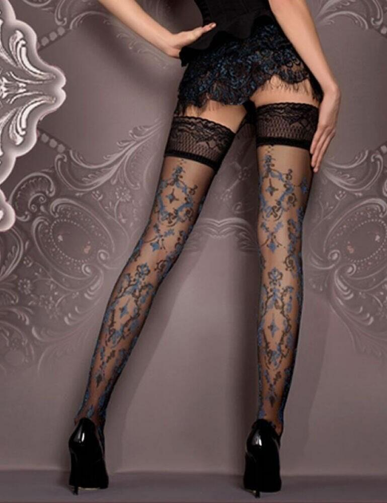 416 Ballerina Lace Trim Hold Ups - 416 Black/Blue