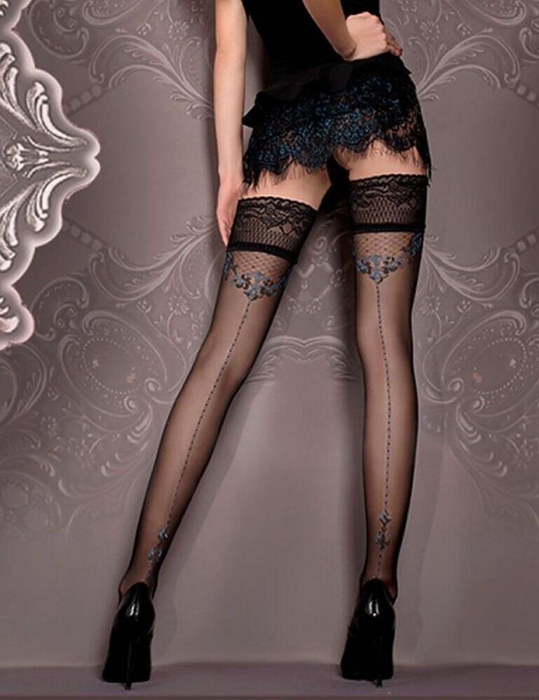 415 Ballerina Lace Trim Hold Ups - 415 Black/Blue