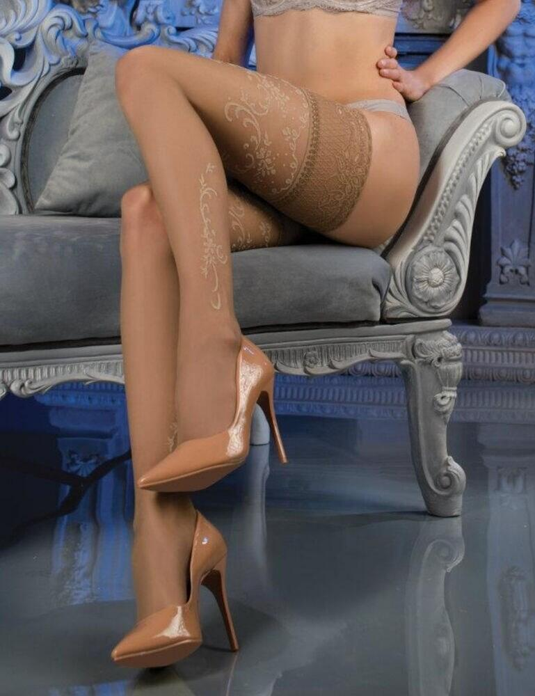 470 Ballerina Deep Lace Tip Hold Ups - 470 Skin