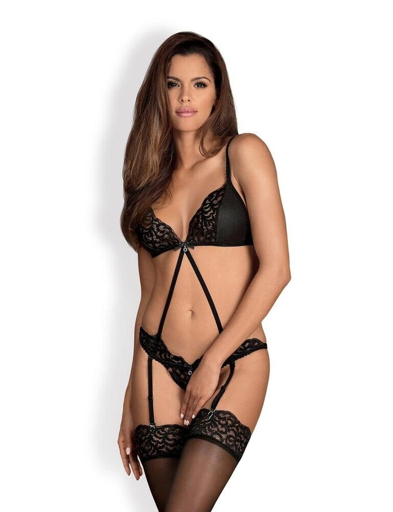 Obsessive Laluna Crotchless Teddy - Black