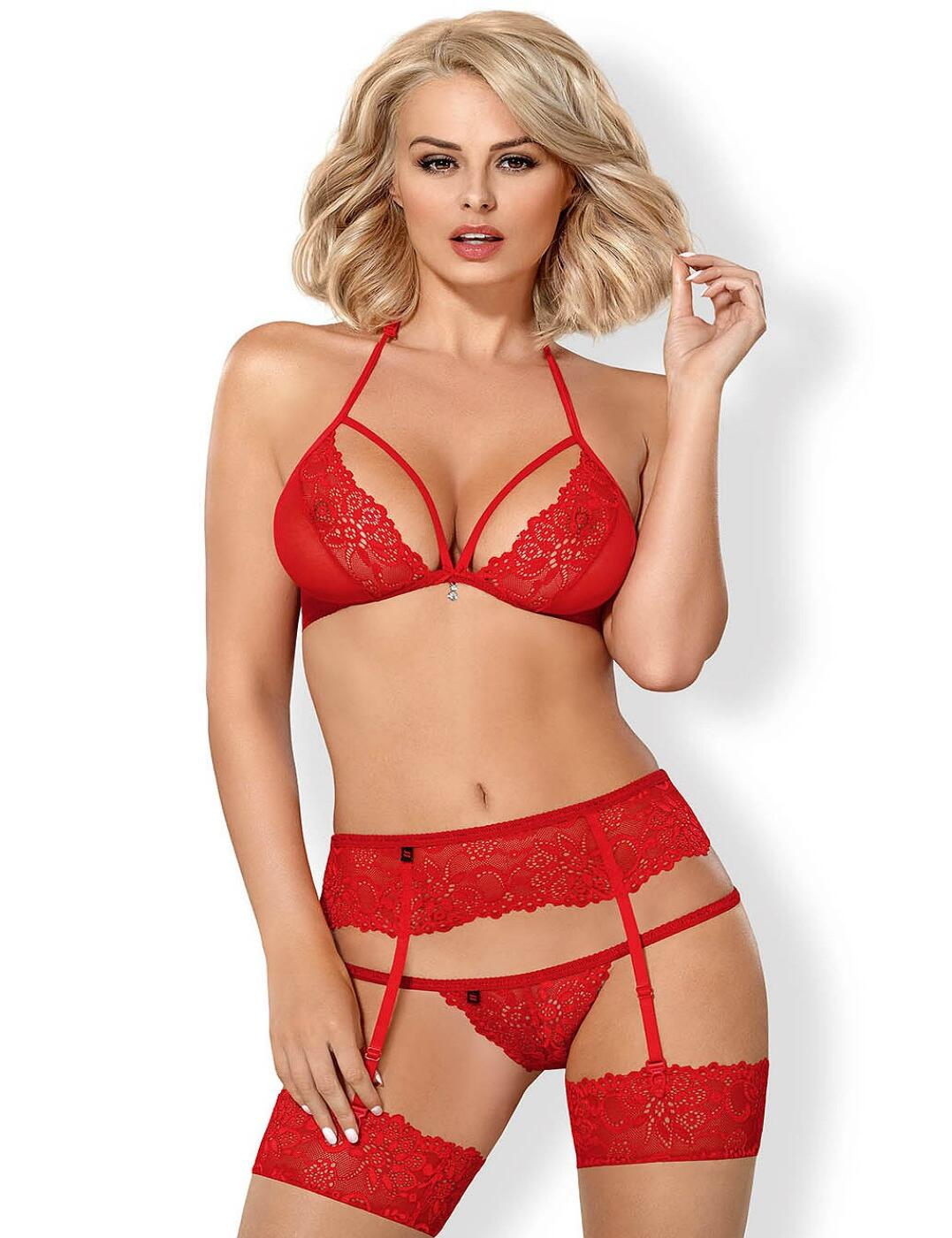 838-SEG-3 Obsessive Lingerie Bra Suspender and Thong Set  - 838-SEG-3 Red