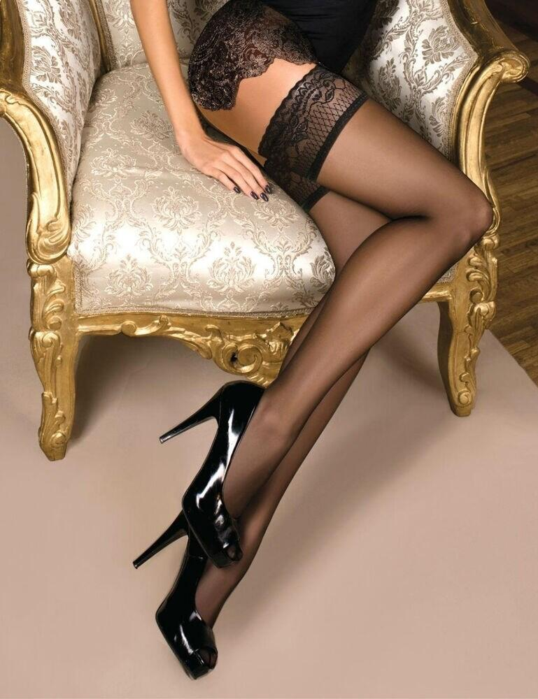 102 Ballerina Patterned Hold Ups - 102 Black