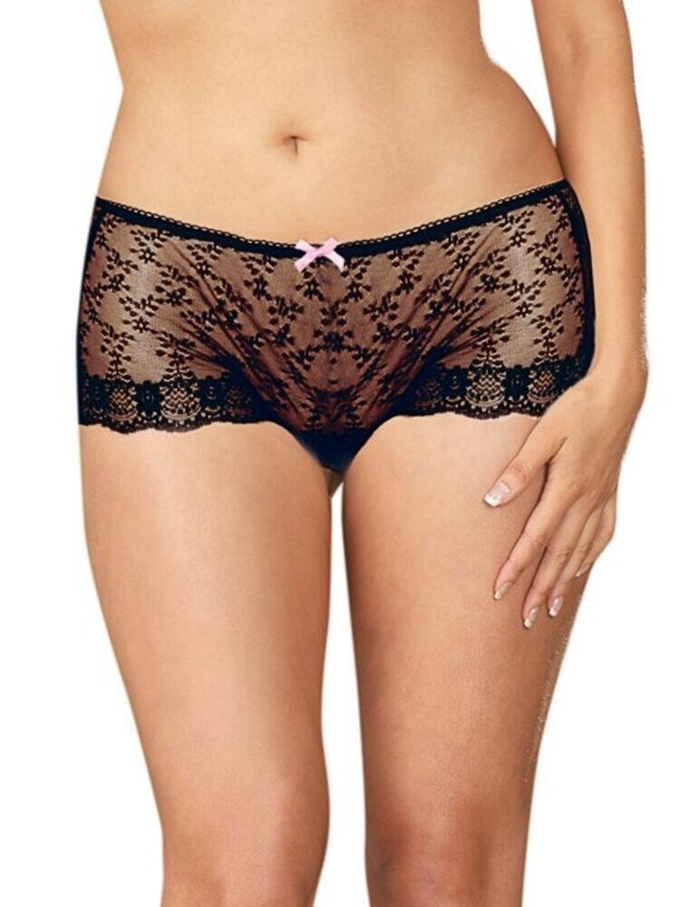 1214X Dreamgirl Plus Size  Open Crotch Panties - 1214X Black
