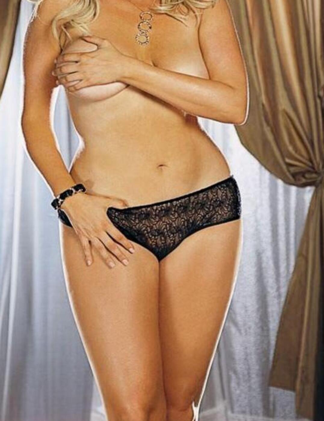 1300X Dreamgirl Plus Size Stretch Lace Crotchless Panty - 1300X Black