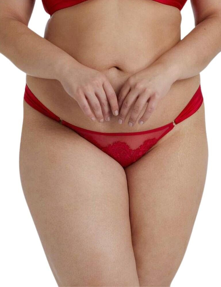 PPCCB3180 Playful Promises Anneliese Satin Brazilian Brief Curve - PPCCB3180 Red