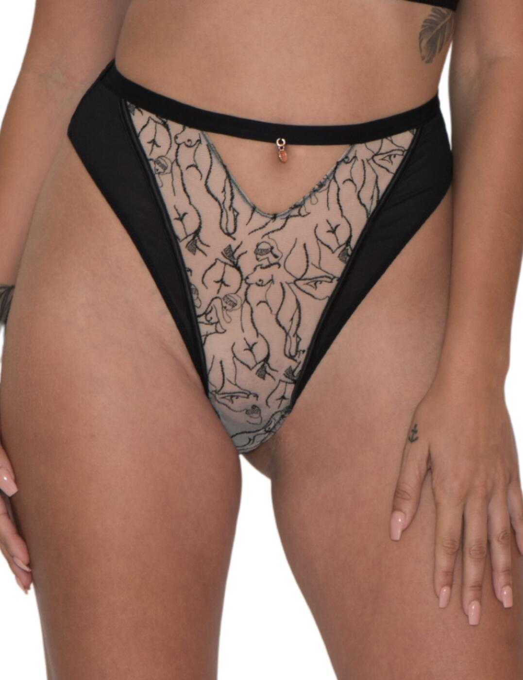 Scantilly by Curvy Kate Sex Education High Waist Thong Black/Latte