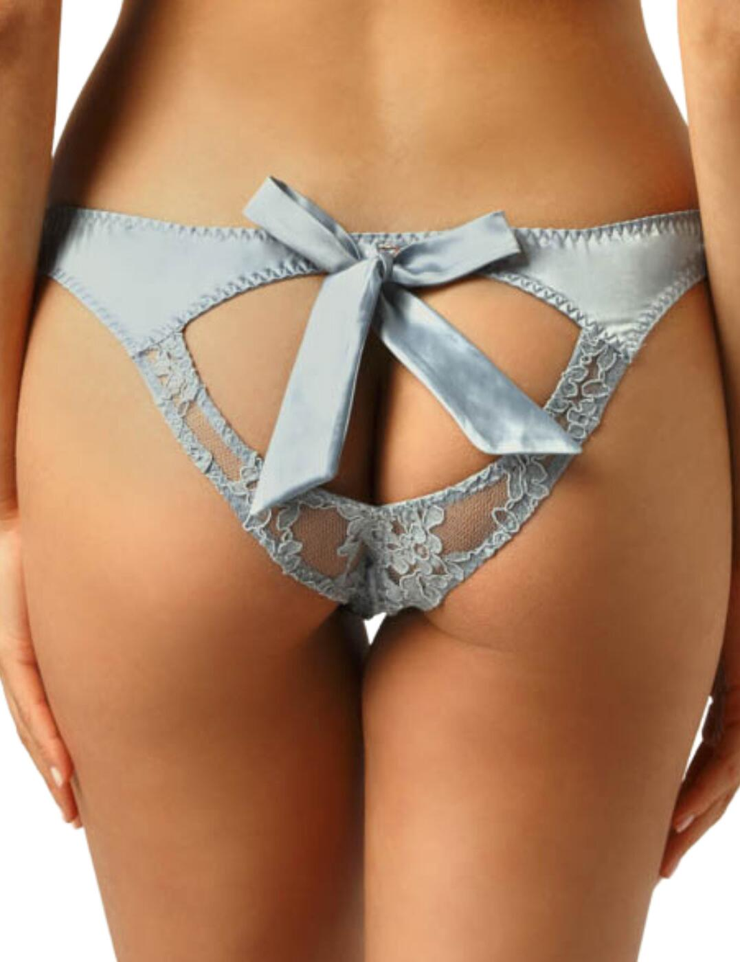 Muse by Coco De Mer Viola Open Bow Knickers in Pale Blue