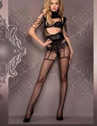 411 Ballerina Pattern Tights  - 411 Black