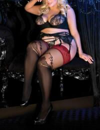 488 Ballerina Secret Exclusive Plus Size Hold Up Stockings - 488 Black/Skin/Red