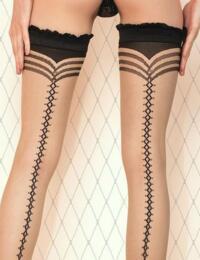 430 Ballerina Frilly Lace Trim Hold Ups - 430 Black/Skin