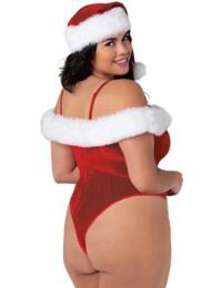 11222X Dreamgirl Plus Size Stretch Velvet Teddy  - 11222X Ruby