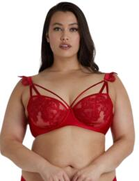 PPCC3180 Playful Promises Anneliese Satin Net and Lace Bra Curve - PPCC3180 Red